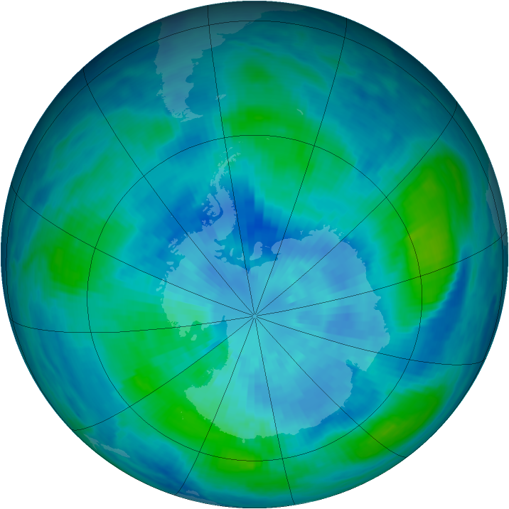 Antarctic ozone map for 22 March 1986