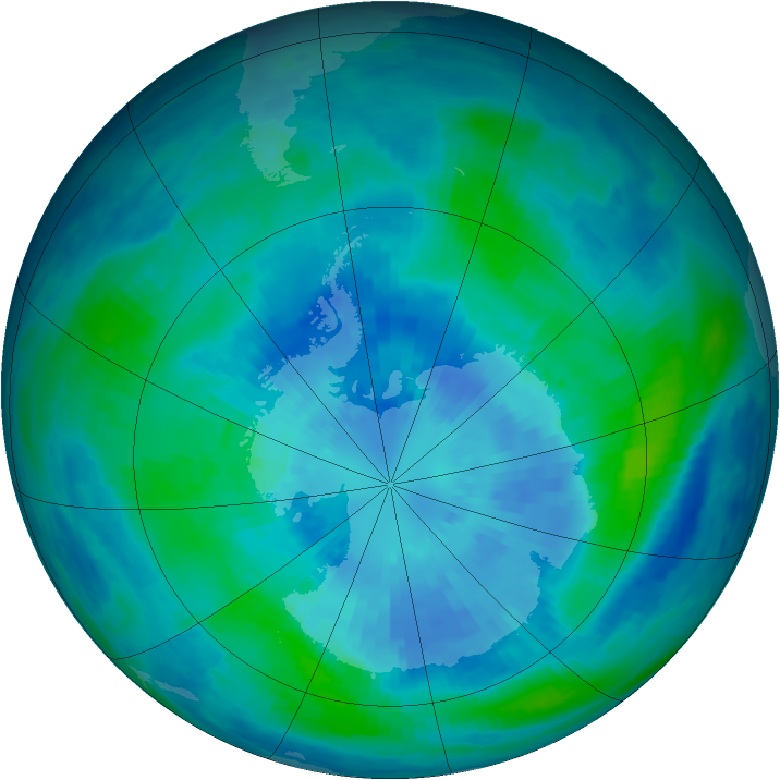 Antarctic ozone map for 23 March 1986