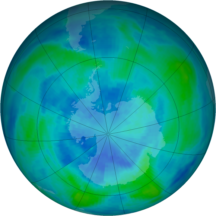 Antarctic ozone map for 27 March 1986