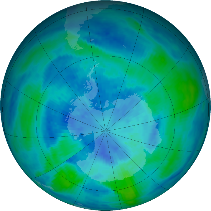 Antarctic ozone map for 28 March 1986