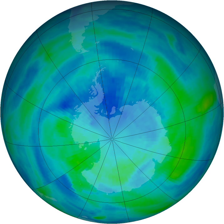 Antarctic ozone map for 30 March 1986