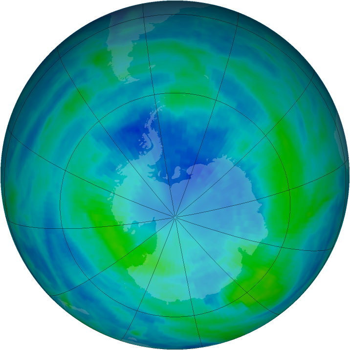 Antarctic ozone map for 31 March 1986