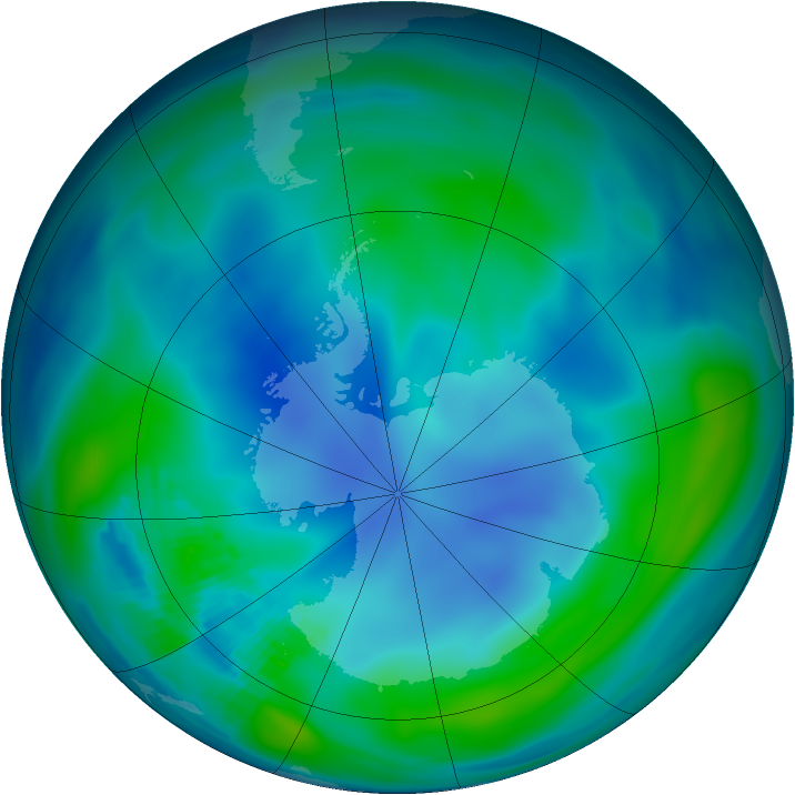 Antarctic ozone map for 20 April 1986