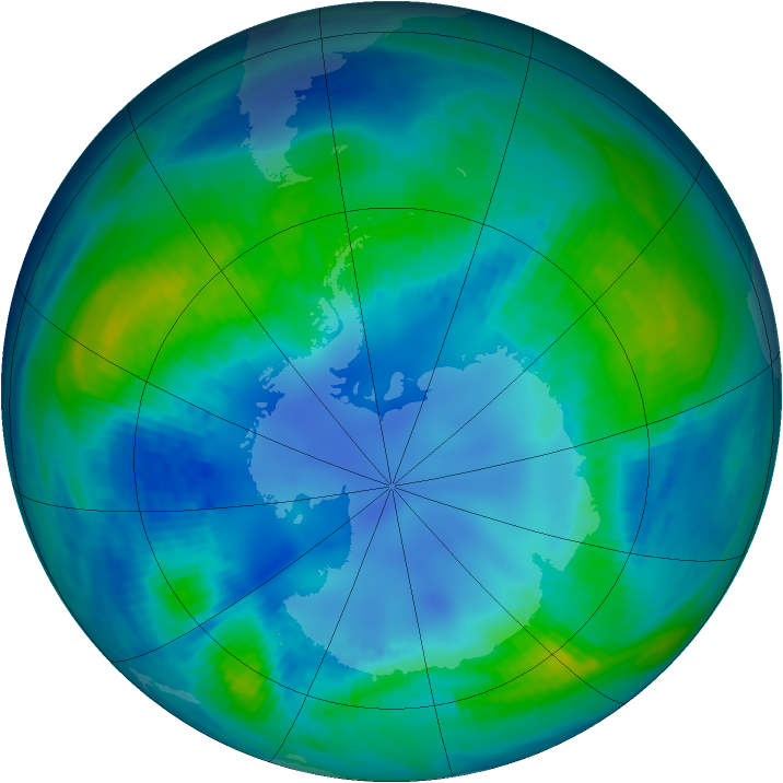 Antarctic ozone map for 27 April 1986