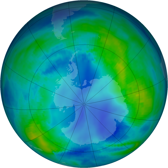 Antarctic ozone map for 01 May 1986