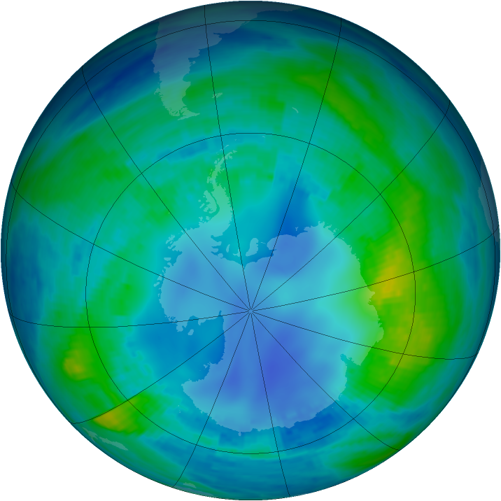 Antarctic ozone map for 02 May 1986