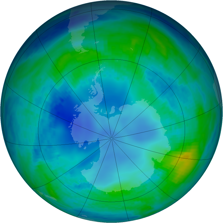 Antarctic ozone map for 04 May 1986