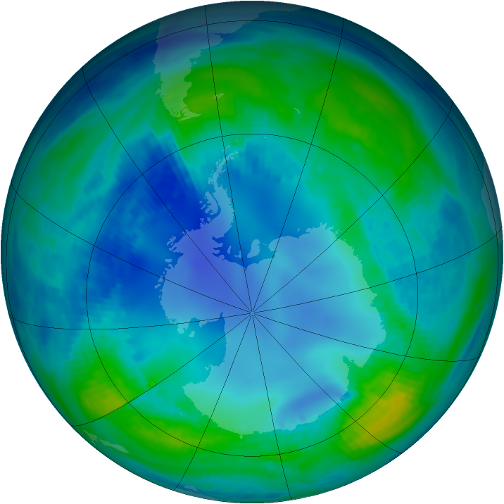 Antarctic ozone map for 05 May 1986