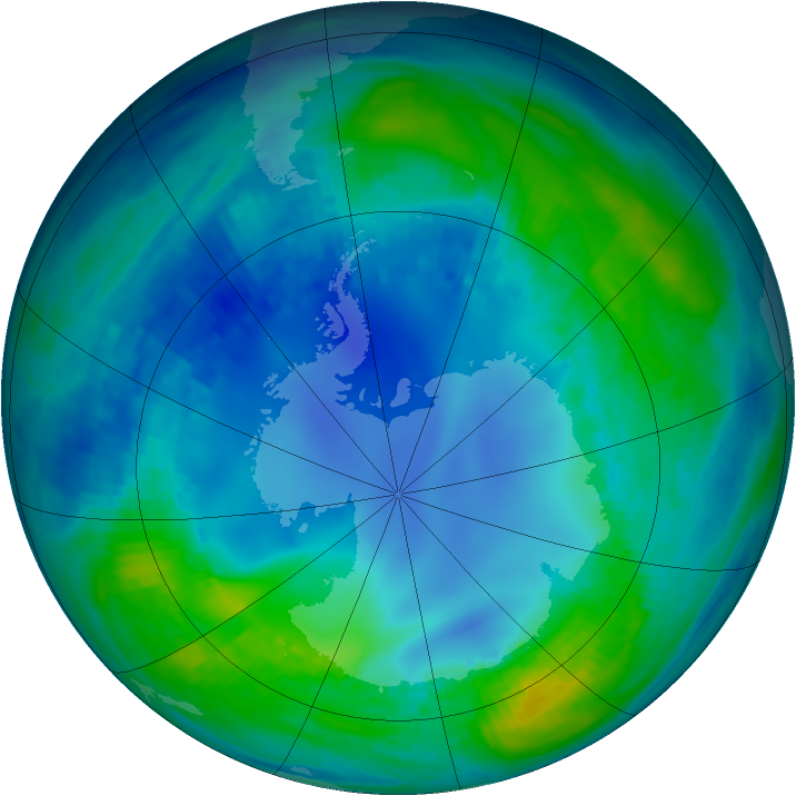 Antarctic ozone map for 06 May 1986