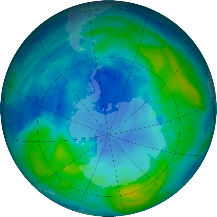 Antarctic ozone map for 07 May 1986