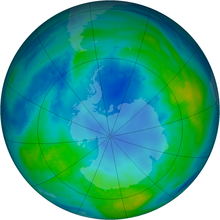 Antarctic ozone map for 08 May 1986