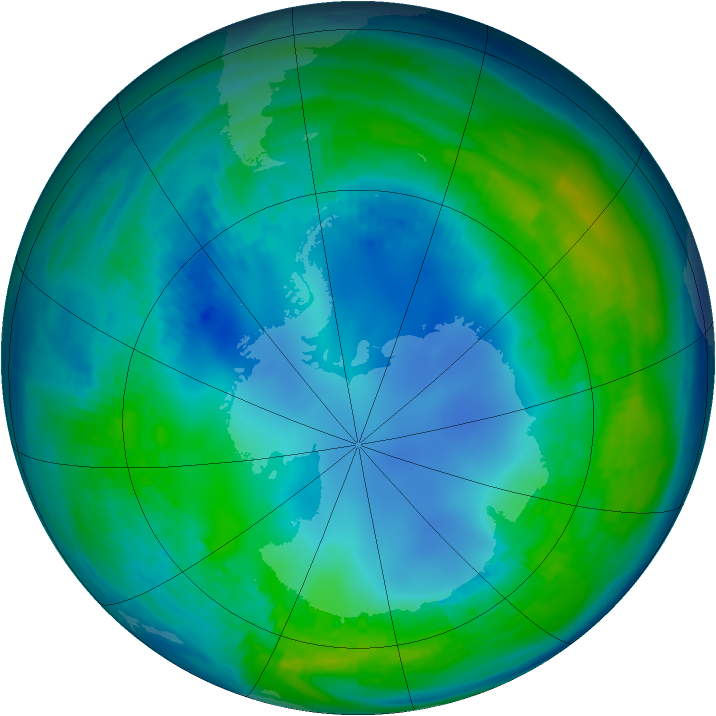 Antarctic ozone map for 10 May 1986