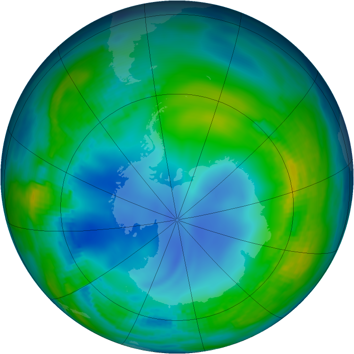 Antarctic ozone map for 21 May 1986