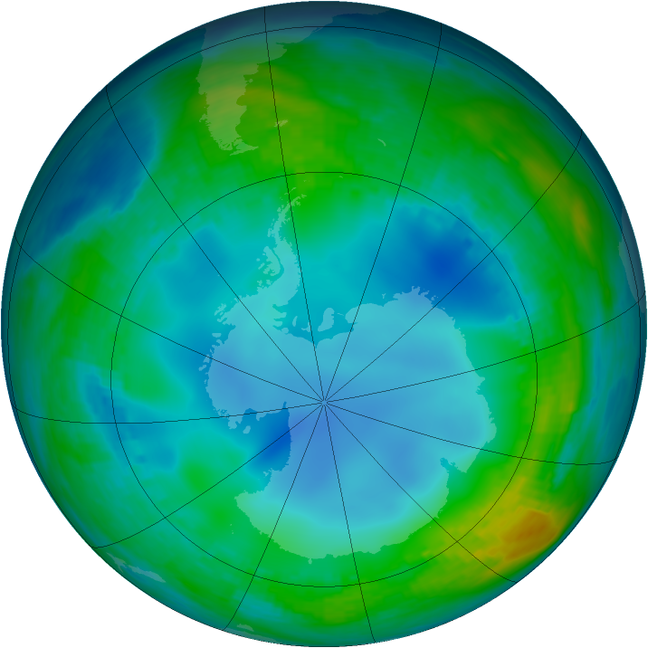 Antarctic ozone map for 28 May 1986