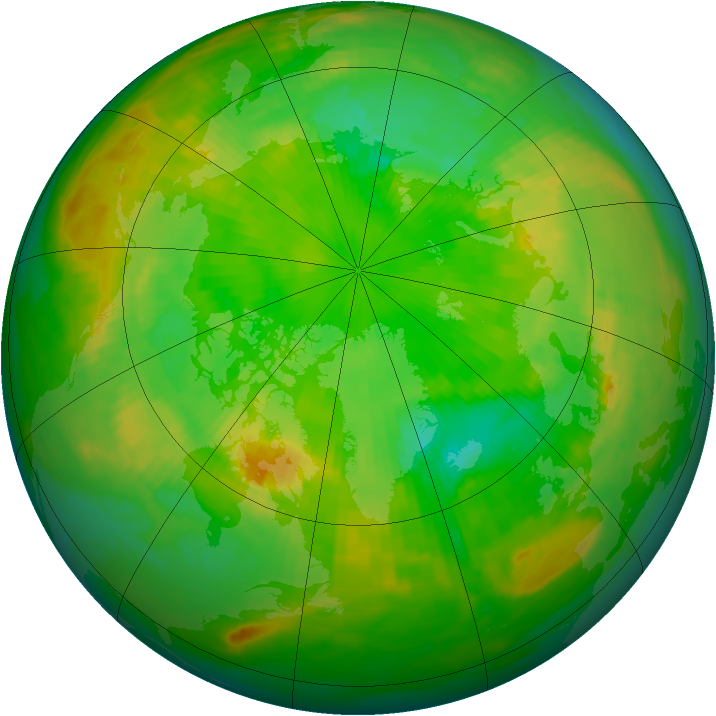 Arctic ozone map for 21 June 1986