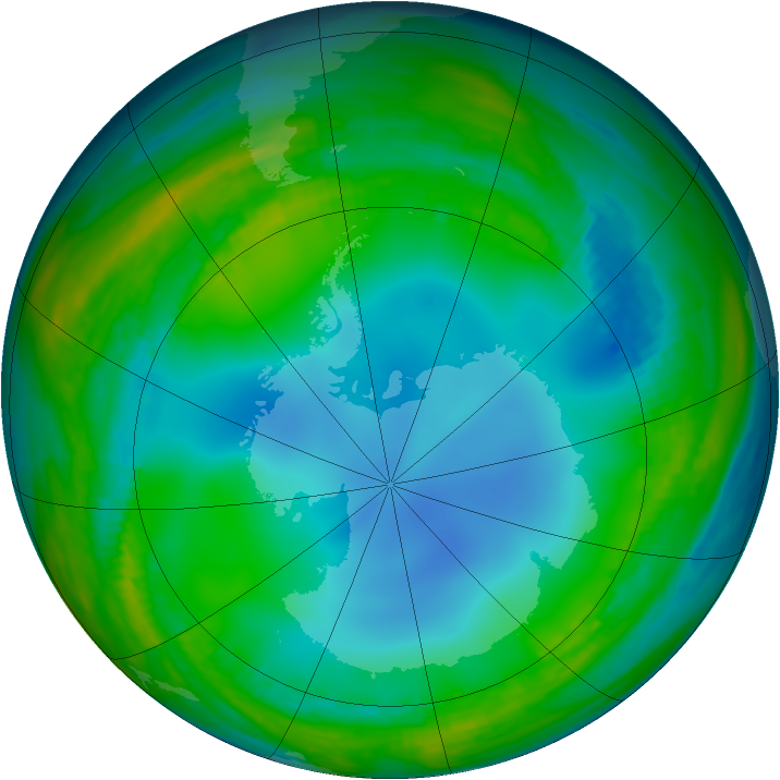 Antarctic ozone map for 02 July 1986