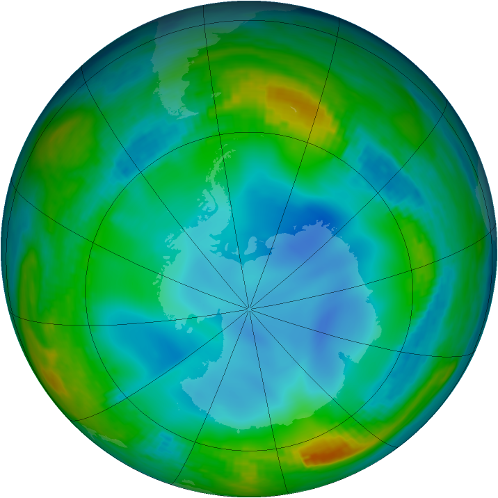 Antarctic ozone map for 04 July 1986