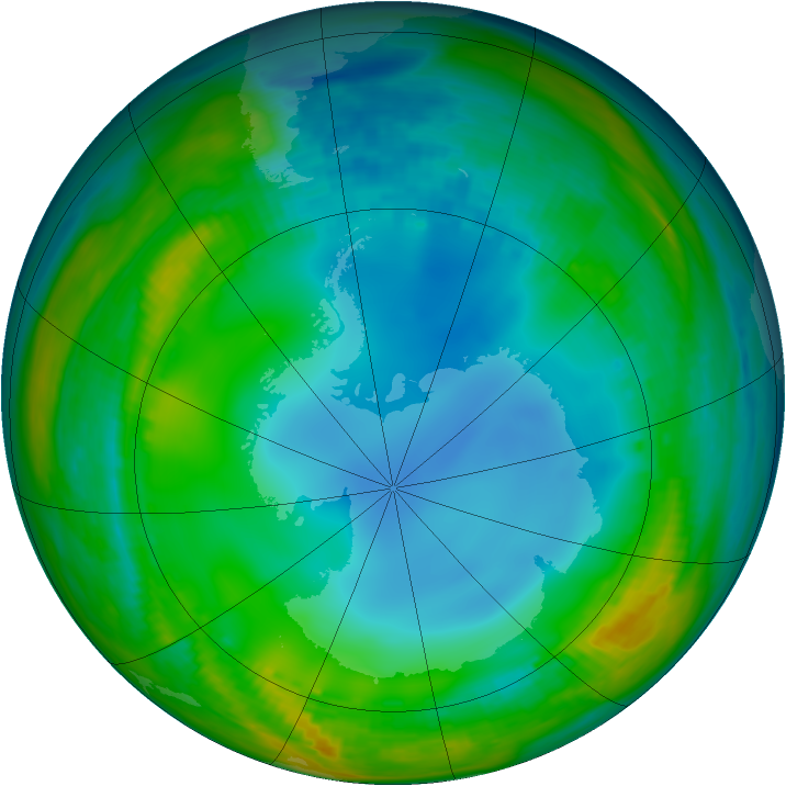 Antarctic ozone map for 08 July 1986
