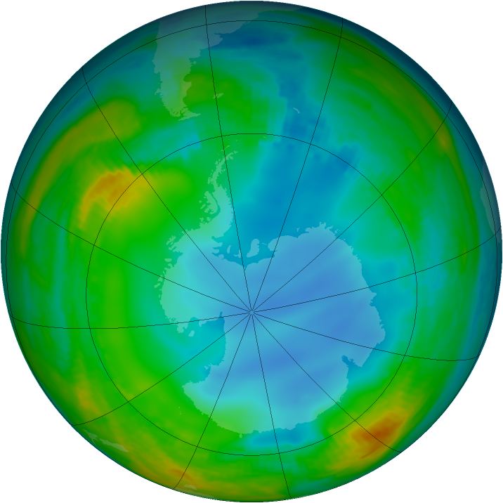 Antarctic ozone map for 09 July 1986