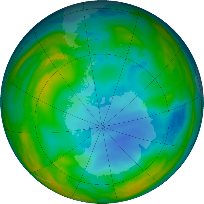 Antarctic ozone map for 10 July 1986
