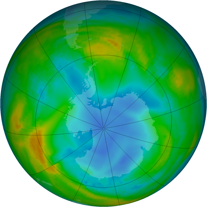 Antarctic ozone map for 14 July 1986