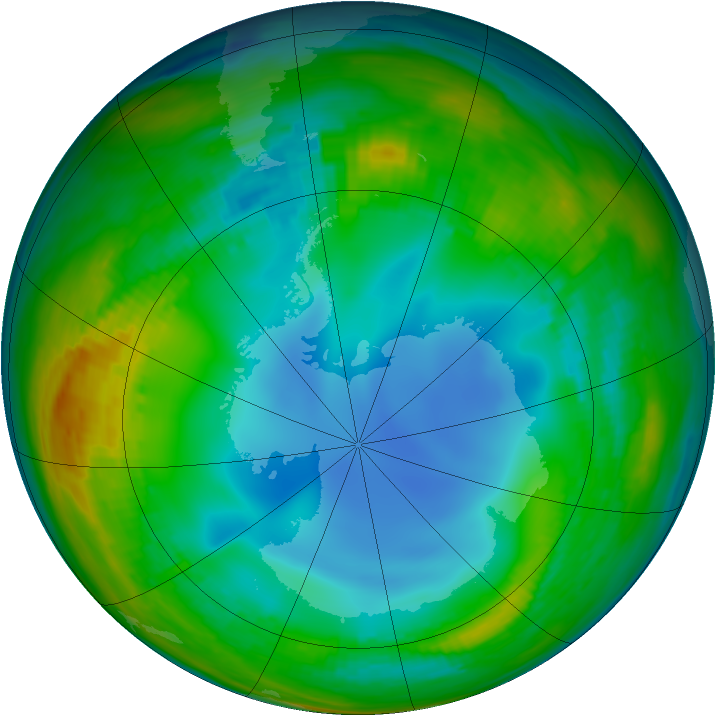 Antarctic ozone map for 16 July 1986