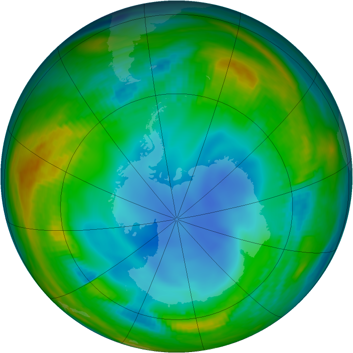Antarctic ozone map for 17 July 1986