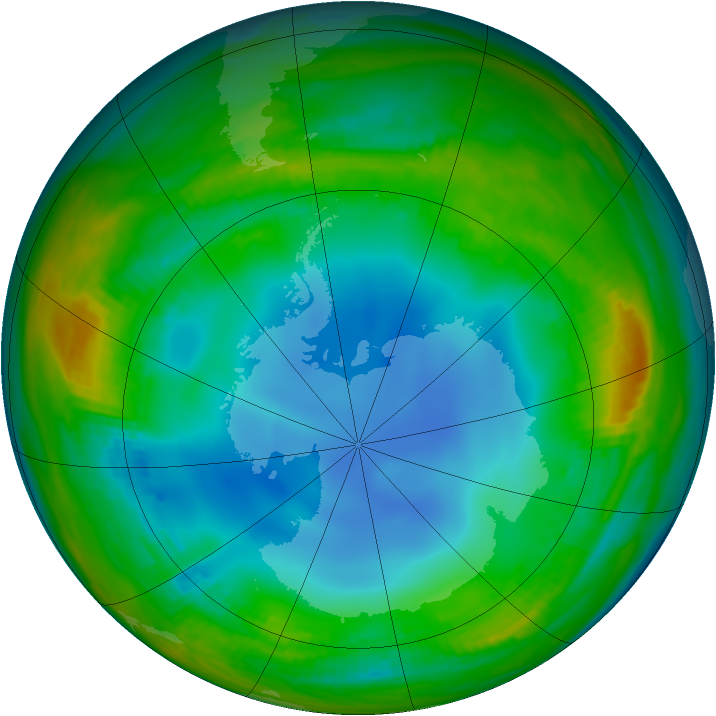 Antarctic ozone map for 19 July 1986