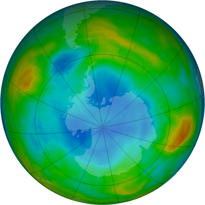 Antarctic ozone map for 20 July 1986