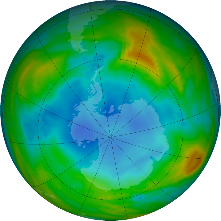 Antarctic ozone map for 21 July 1986