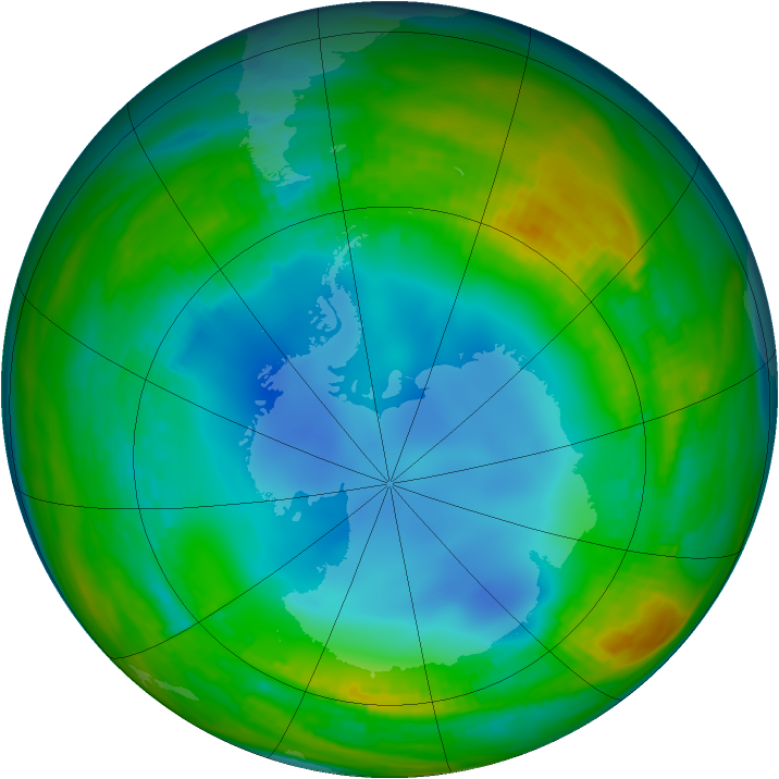 Antarctic ozone map for 22 July 1986