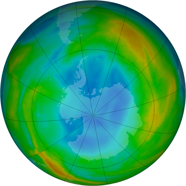 Antarctic ozone map for 25 July 1986