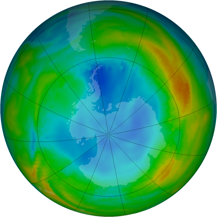 Antarctic ozone map for 26 July 1986