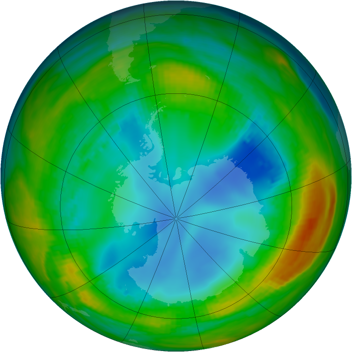 Antarctic ozone map for 30 July 1986