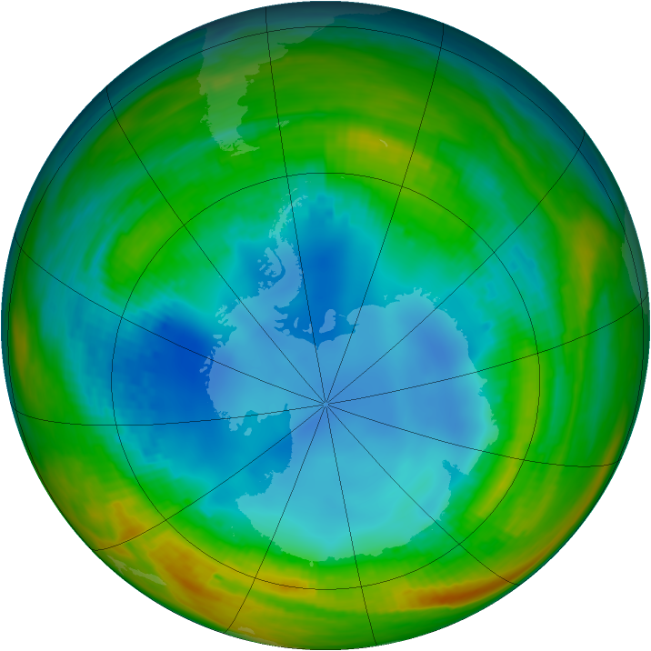 Antarctic ozone map for 03 August 1986