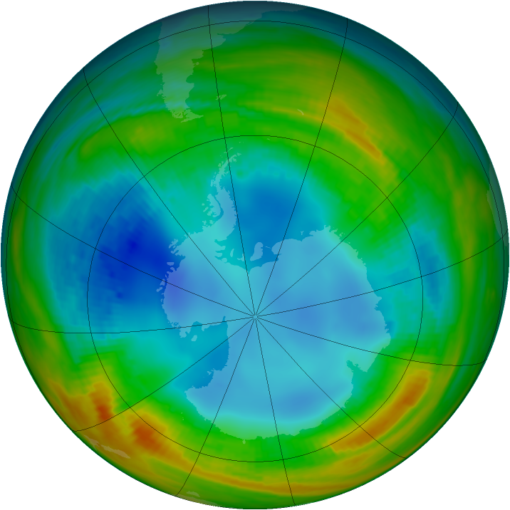 Antarctic ozone map for 04 August 1986