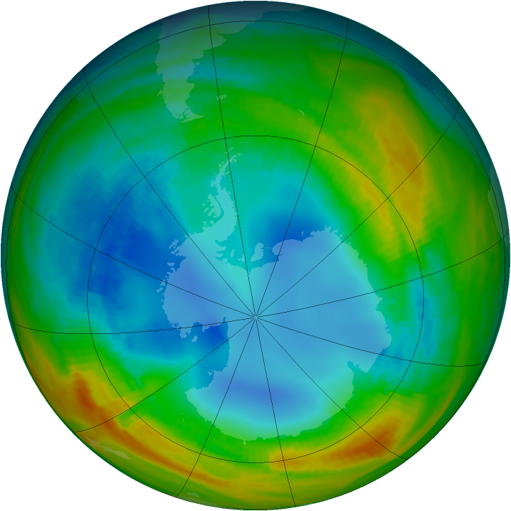 Antarctic ozone map for 05 August 1986