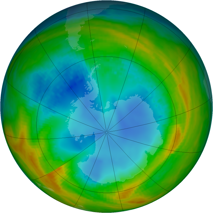 Antarctic ozone map for 07 August 1986