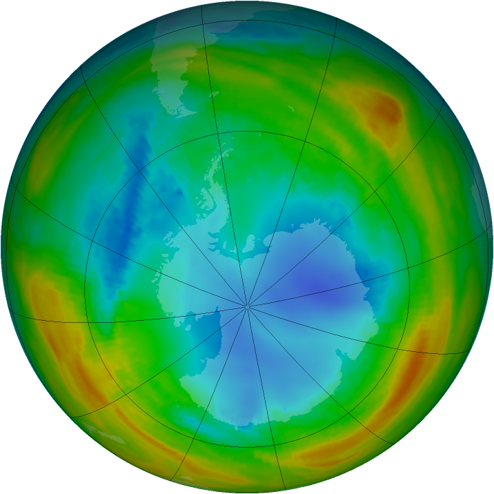 Antarctic ozone map for 10 August 1986