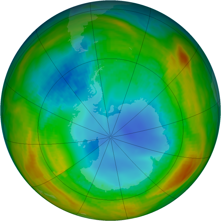 Antarctic ozone map for 11 August 1986