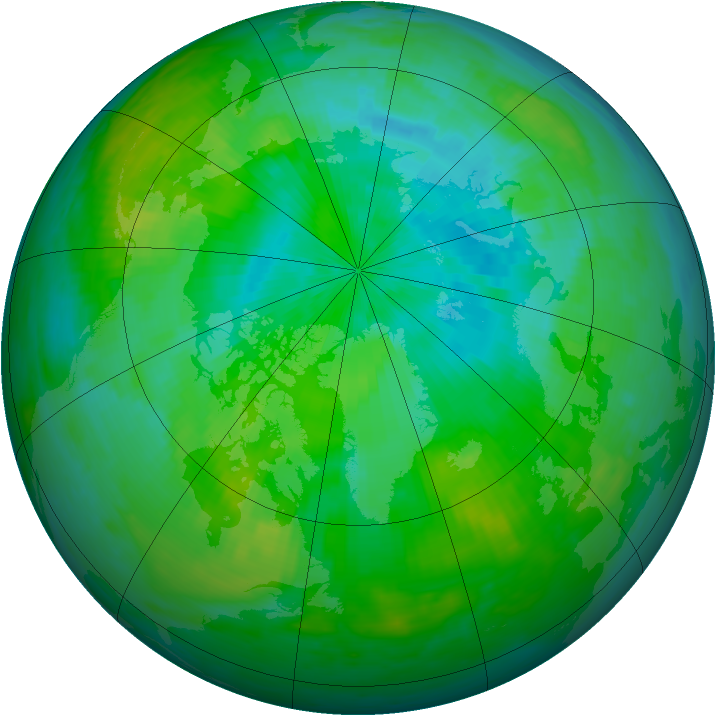 Arctic ozone map for 12 August 1986