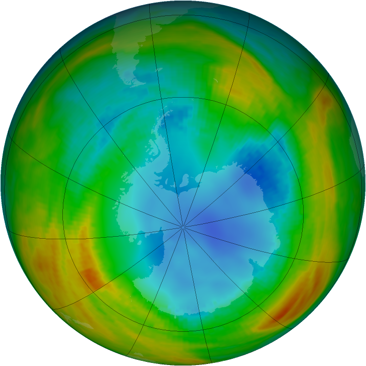 Antarctic ozone map for 12 August 1986