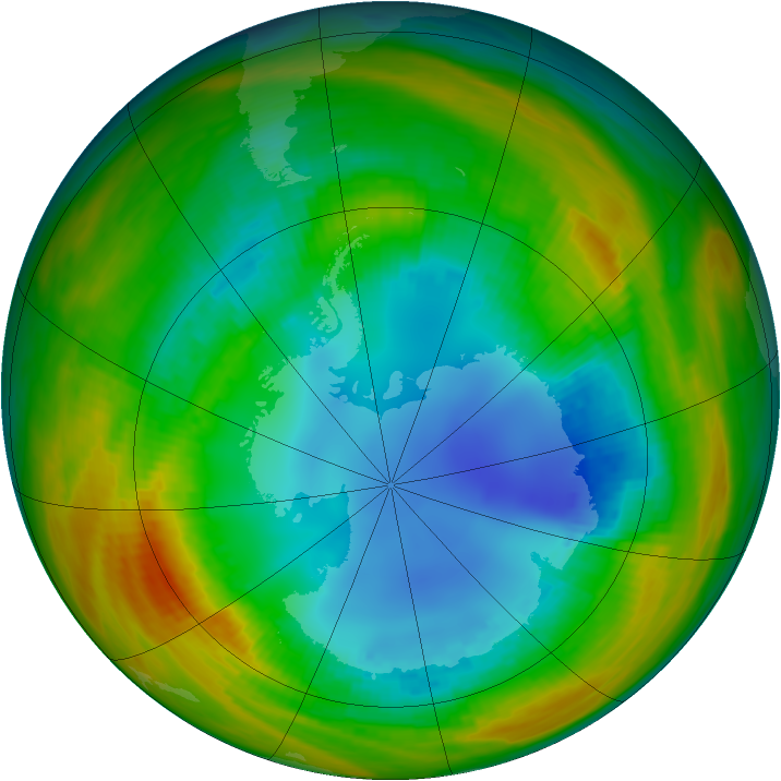 Antarctic ozone map for 13 August 1986