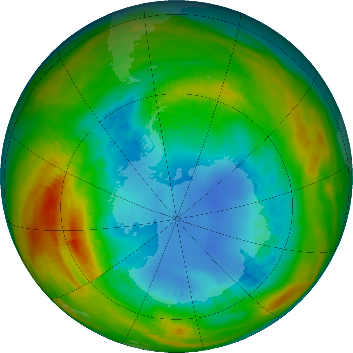 Antarctic ozone map for 15 August 1986