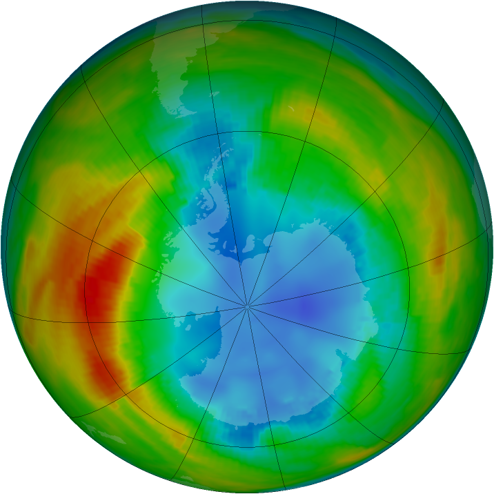 Antarctic ozone map for 16 August 1986