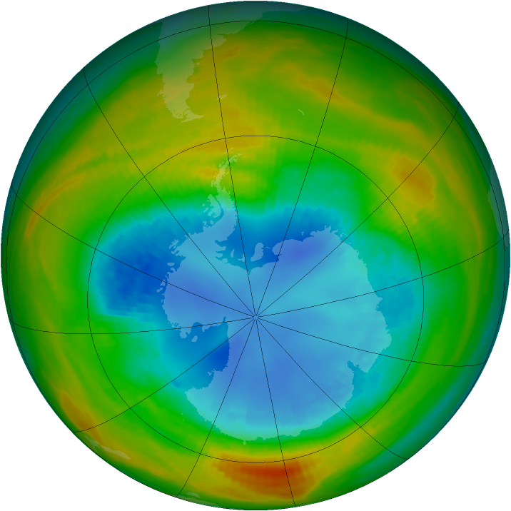 Antarctic ozone map for 24 August 1986