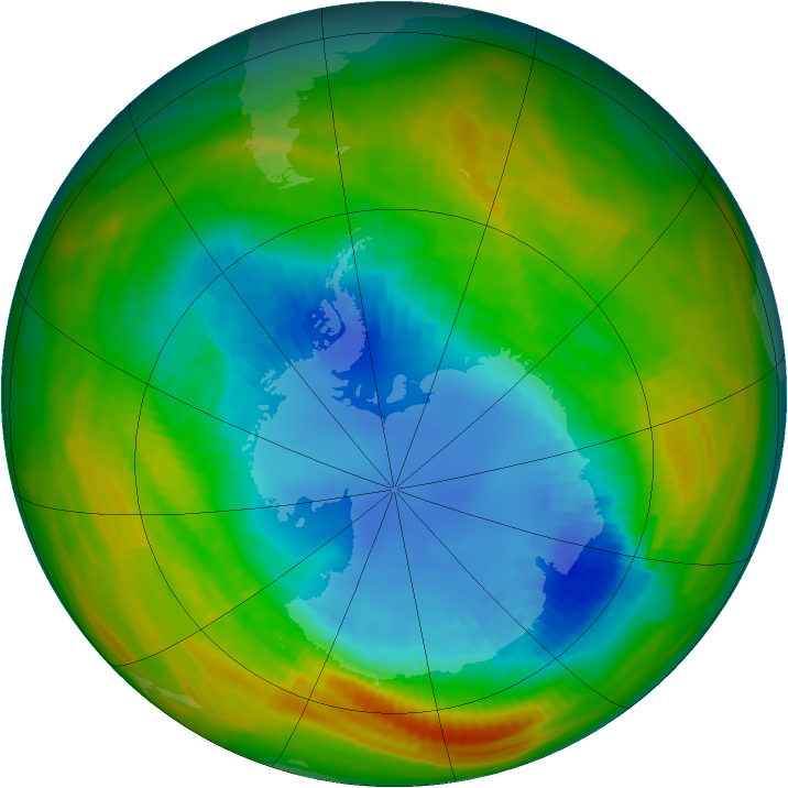 Antarctic ozone map for 27 August 1986