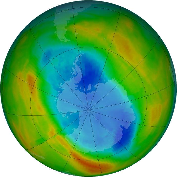 Antarctic ozone map for 28 August 1986