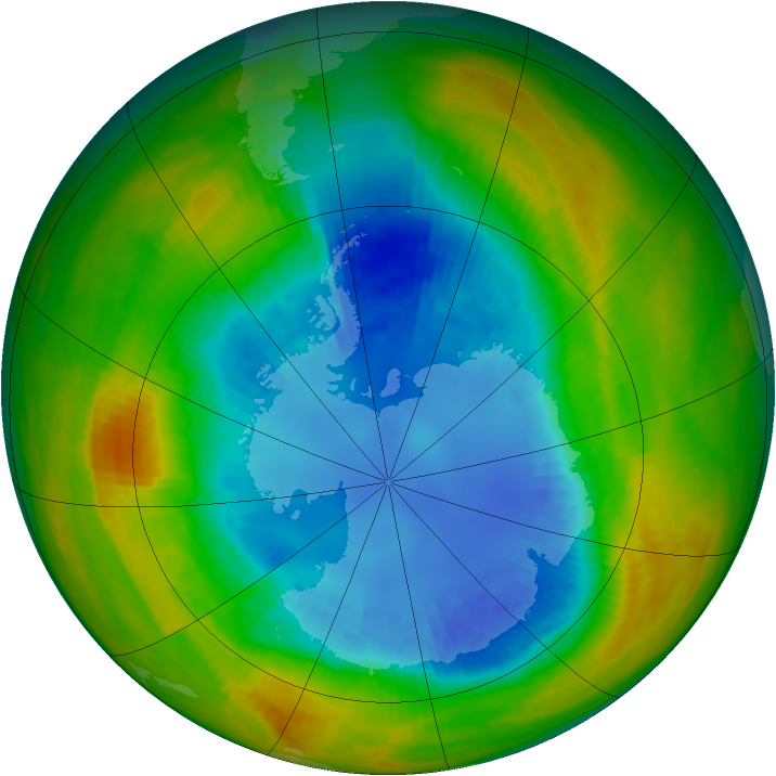 Antarctic ozone map for 30 August 1986