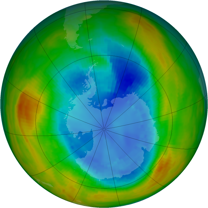 Antarctic ozone map for 31 August 1986